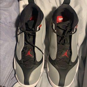 Black and gray Jordan's